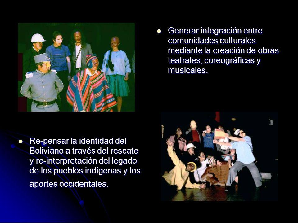 Generar integración entre comunidades culturales mediante la creación de obras teatrales, coreográficas y musicales.