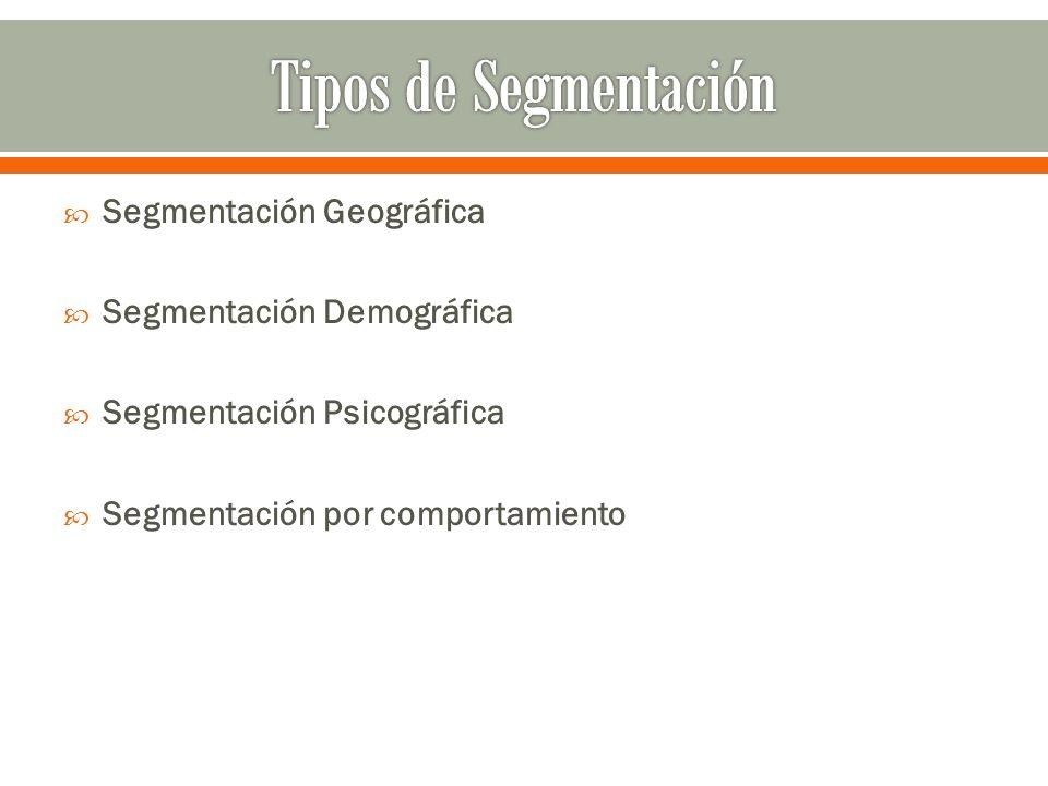 Segmentación Geográfica Segmentación Demográfica Segmentación Psicográfica Segmentación por comportamiento