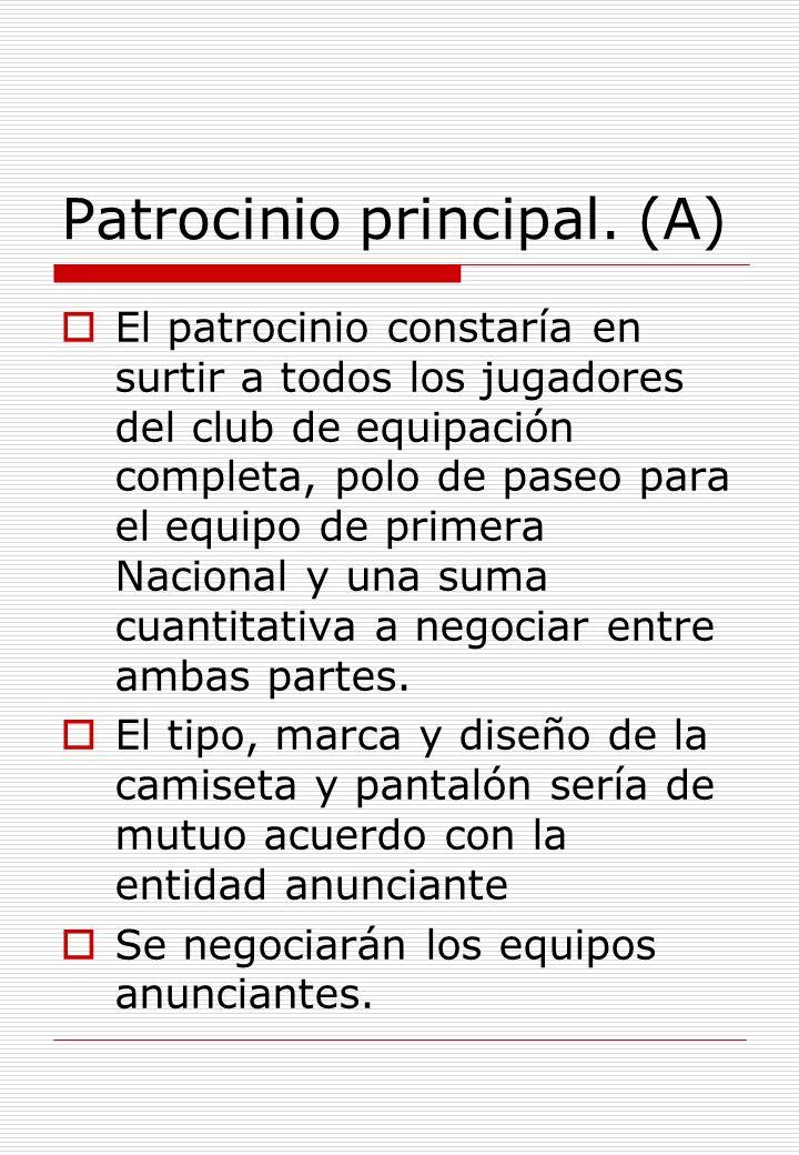 Patrocinio principal. (A) El patrocinio constaría en surtir a todos los jugadores del club de equipación completa, polo de paseo para el equipo de pri
