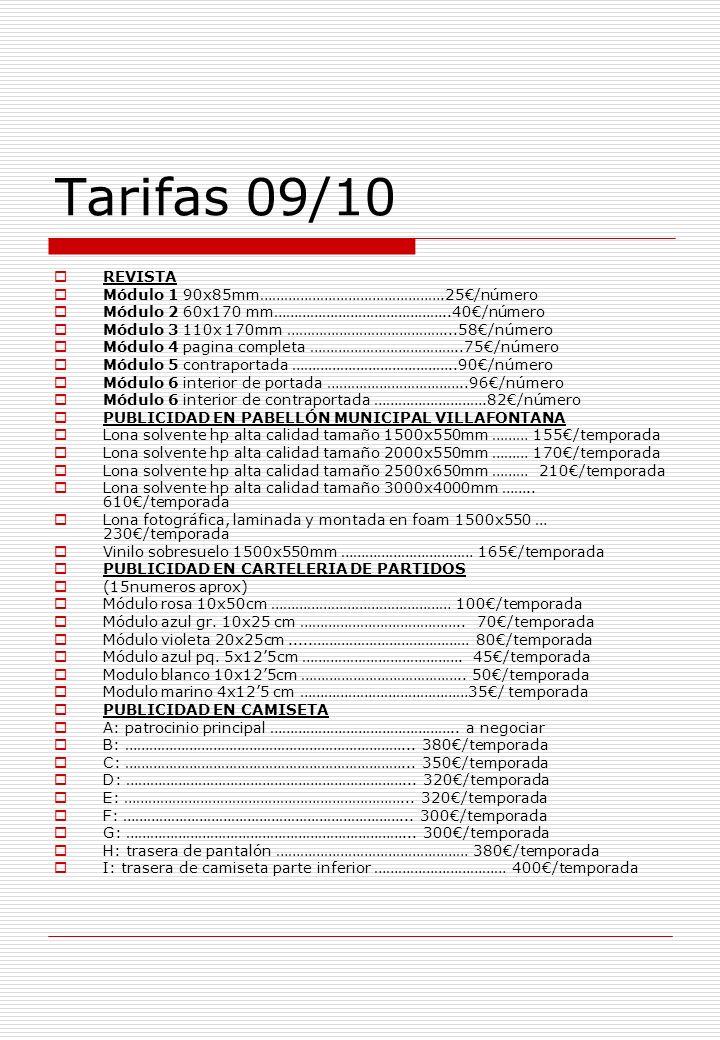 Tarifas 09/10 REVISTA Módulo 1 90x85mm……………………………………….25/número Módulo 2 60x170 mm……………………………………..40/número Módulo 3 110x 170mm …………………………………...58/número Módulo 4 pagina completa ………………………………..75/número Módulo 5 contraportada …………………………………..90/número Módulo 6 interior de portada ……………………………..96/número Módulo 6 interior de contraportada ……………………….82/número PUBLICIDAD EN PABELLÓN MUNICIPAL VILLAFONTANA Lona solvente hp alta calidad tamaño 1500x550mm ……… 155/temporada Lona solvente hp alta calidad tamaño 2000x550mm ……… 170/temporada Lona solvente hp alta calidad tamaño 2500x650mm ……… 210/temporada Lona solvente hp alta calidad tamaño 3000x4000mm ……..