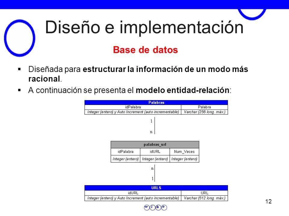 12 Diseño e implementación Diseñada para estructurar la información de un modo más racional. A continuación se presenta el modelo entidad-relación: Ba
