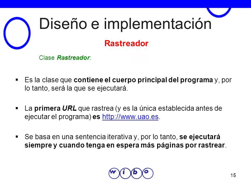 15 Diseño e implementación Es la clase que contiene el cuerpo principal del programa y, por lo tanto, será la que se ejecutará. La primera URL que ras