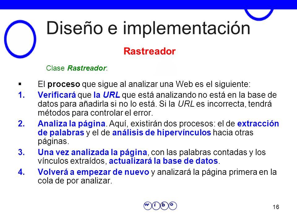 16 Diseño e implementación El proceso que sigue al analizar una Web es el siguiente: 1.Verificará que la URL que está analizando no está en la base de