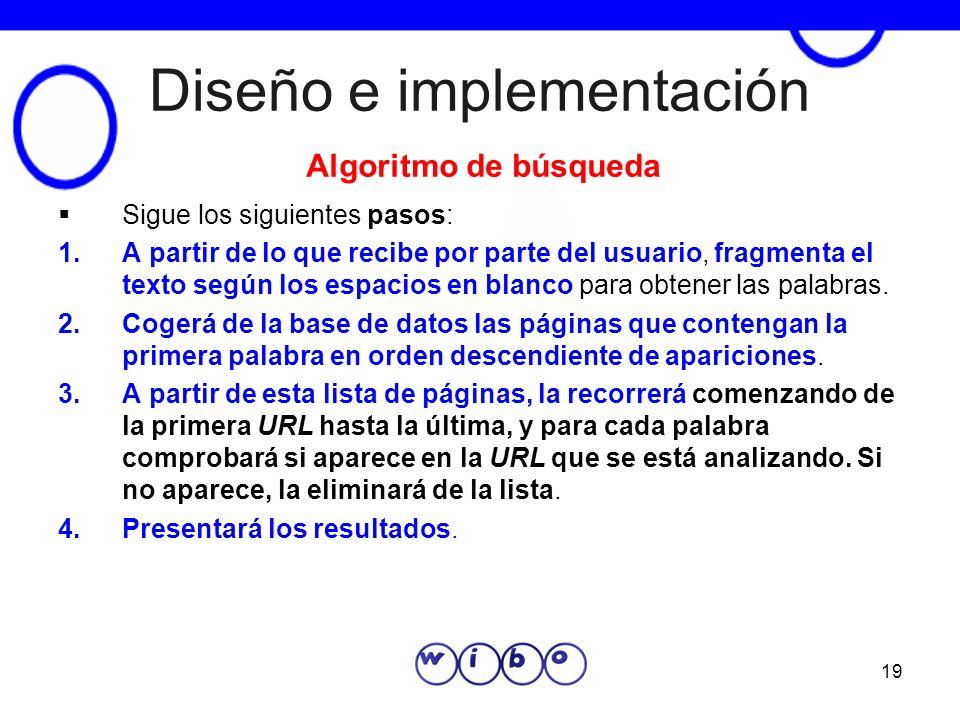 19 Diseño e implementación Sigue los siguientes pasos: 1.A partir de lo que recibe por parte del usuario, fragmenta el texto según los espacios en bla