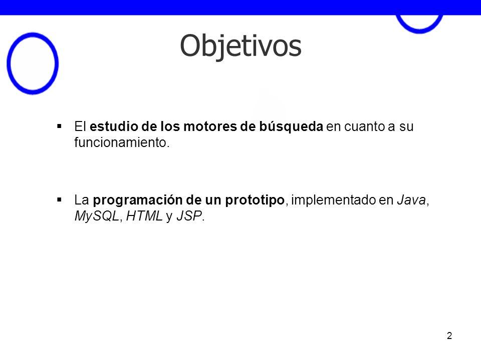 2 Objetivos El estudio de los motores de búsqueda en cuanto a su funcionamiento. La programación de un prototipo, implementado en Java, MySQL, HTML y