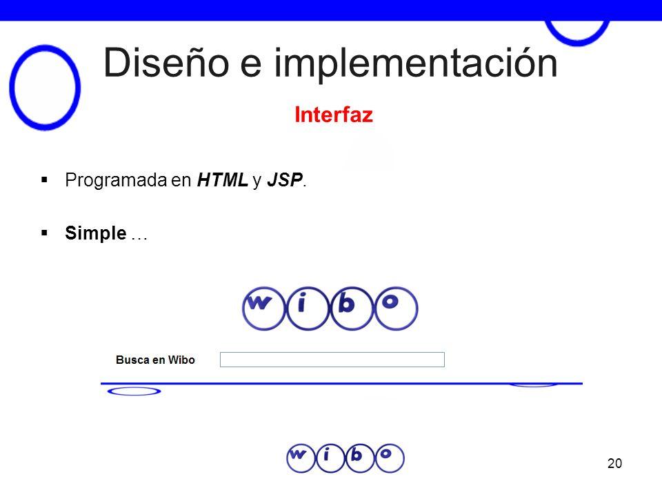 20 Diseño e implementación Programada en HTML y JSP. Simple … Interfaz