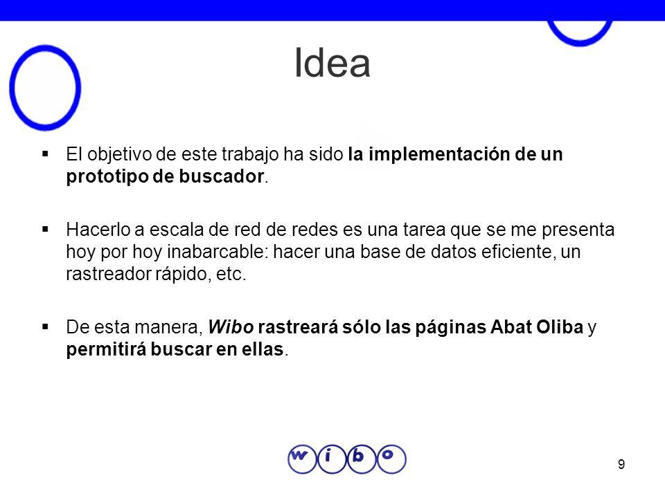 9 Idea El objetivo de este trabajo ha sido la implementación de un prototipo de buscador. Hacerlo a escala de red de redes es una tarea que se me pres