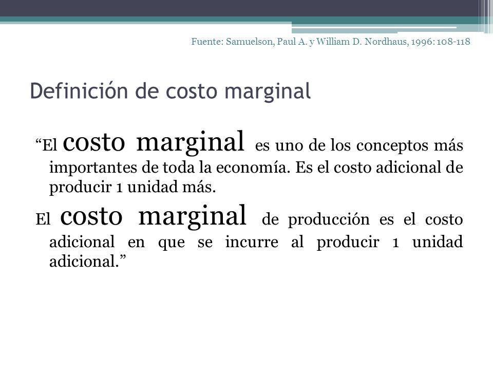 Definición de costo marginal El costo marginal es uno de los conceptos más importantes de toda la economía. Es el costo adicional de producir 1 unidad