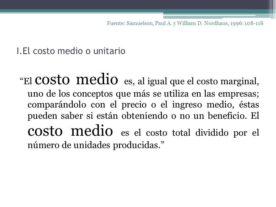 I.El costo medio o unitario Fuente: Samuelson, Paul A. y William D. Nordhaus, 1996: 108-118 El costo medio es, al igual que el costo marginal, uno de