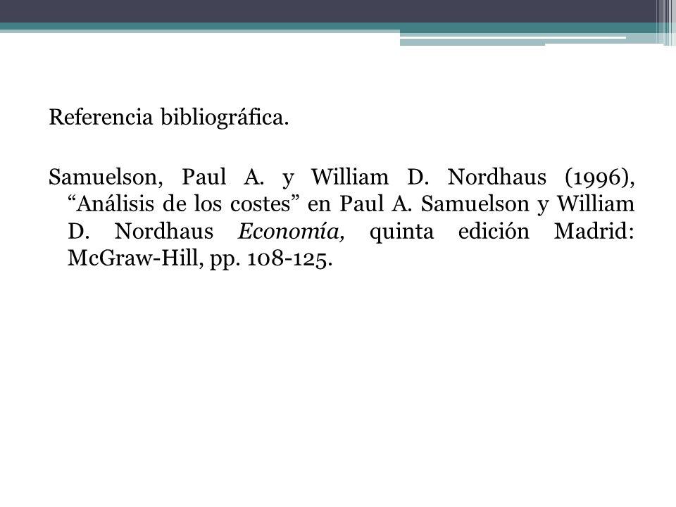 Referencia bibliográfica. Samuelson, Paul A. y William D. Nordhaus (1996), Análisis de los costes en Paul A. Samuelson y William D. Nordhaus Economía,