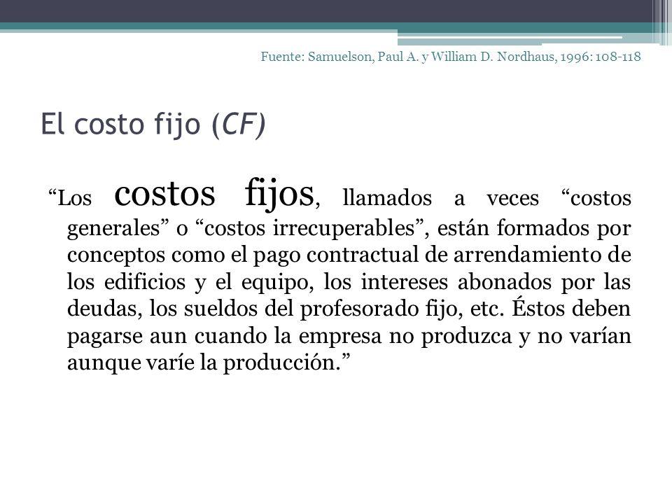 El costo fijo (CF) Los costos fijos, llamados a veces costos generales o costos irrecuperables, están formados por conceptos como el pago contractual
