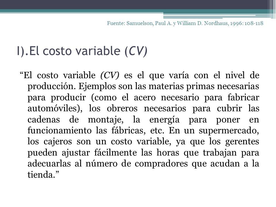 I).El costo variable (CV) El costo variable (CV) es el que varía con el nivel de producción. Ejemplos son las materias primas necesarias para producir