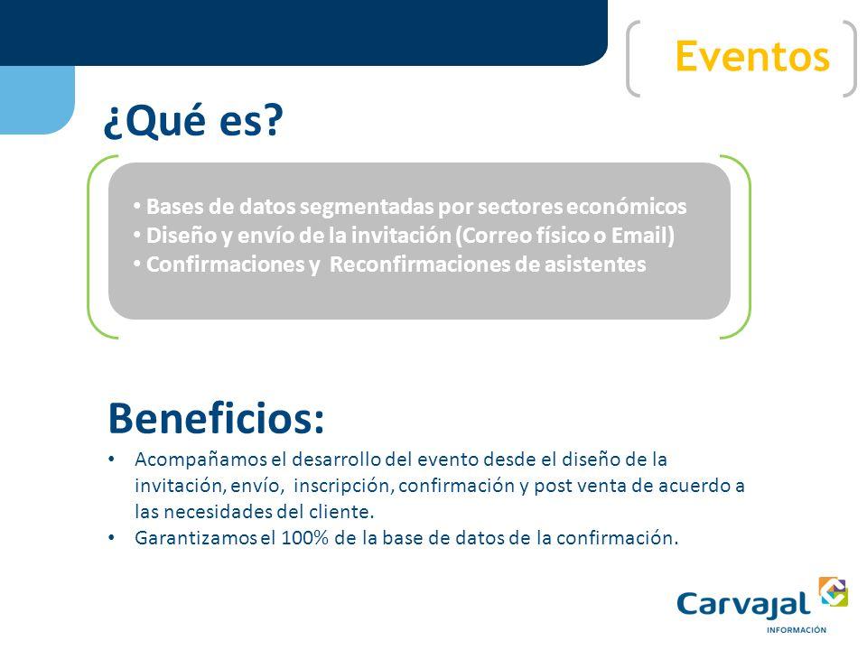 Con más de 100.000 mails de contactos comerciales, Carvajal Informacion ofrece la opción de administrar sus campañas de e- mail MKT, haciendo un segui
