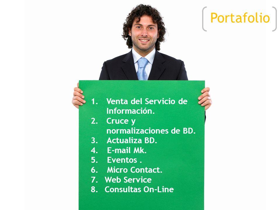 1.Venta del Servicio de Información.2.Cruce y normalizaciones de BD.