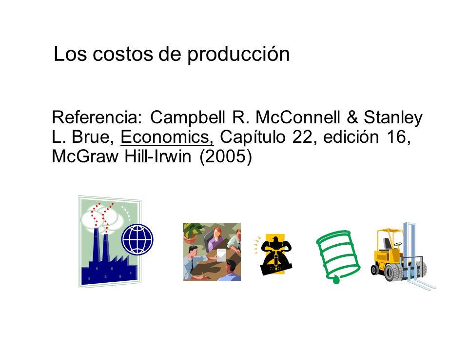 Los costos de producción Referencia: Campbell R. McConnell & Stanley L. Brue, Economics, Capítulo 22, edición 16, McGraw Hill-Irwin (2005)