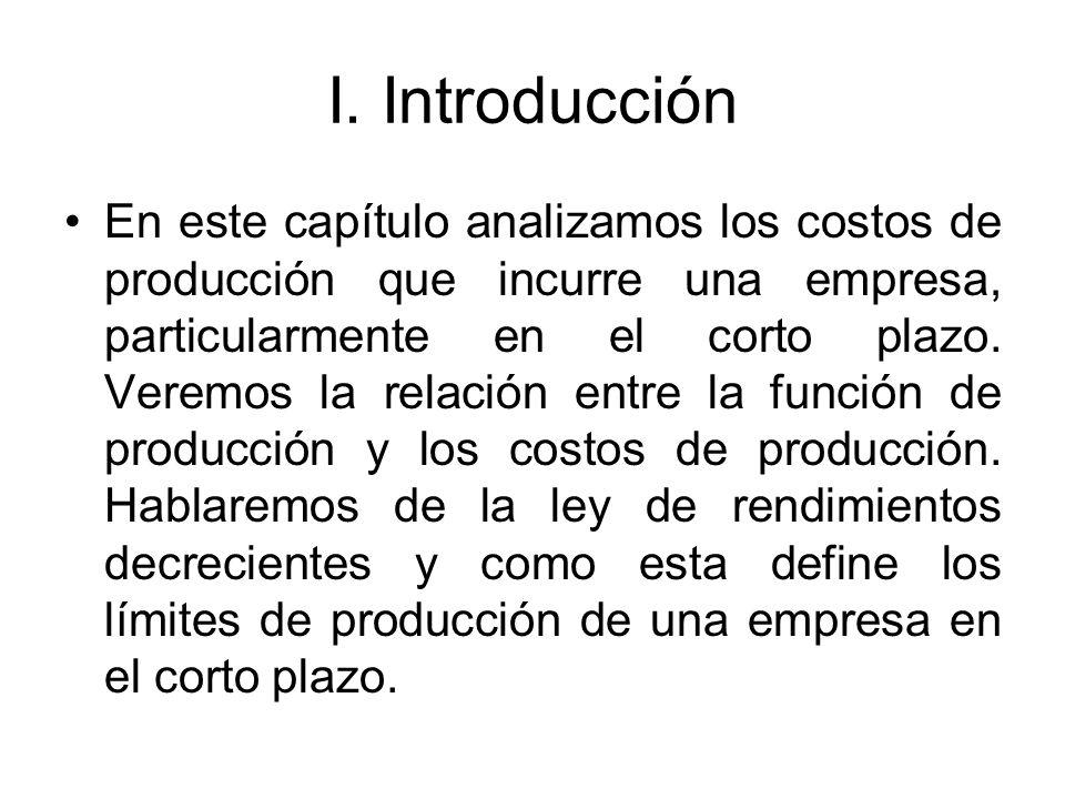 I. Introducción En este capítulo analizamos los costos de producción que incurre una empresa, particularmente en el corto plazo. Veremos la relación e
