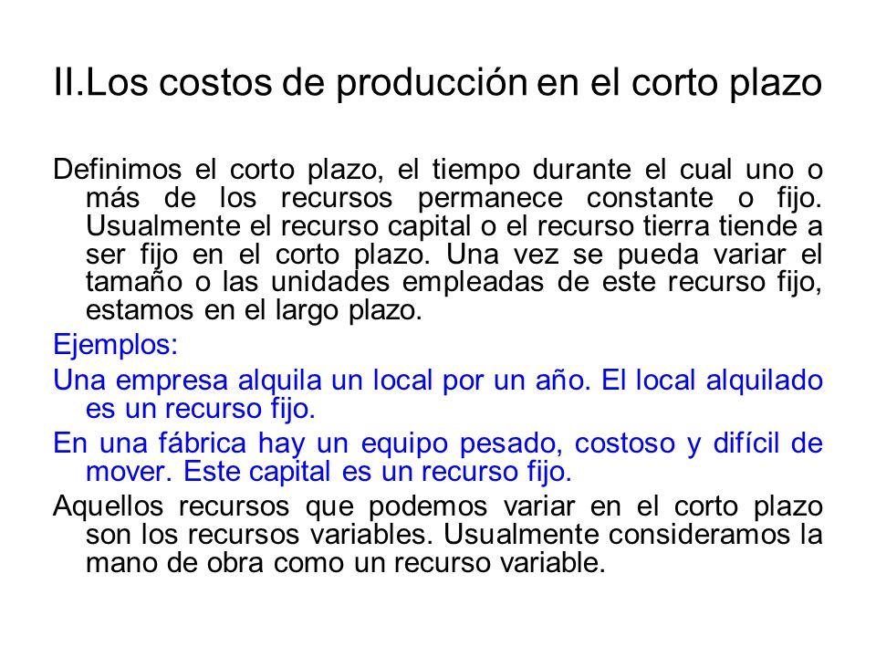 II.Los costos de producción en el corto plazo Dado esta limitación de uno o más de los recursos fijos, podemos definir los costos de producción de la siguiente forma: (1)costo total = costo fijo + costo variable El costo fijo (c.f) incluye el costo por emplear el recurso fijo.