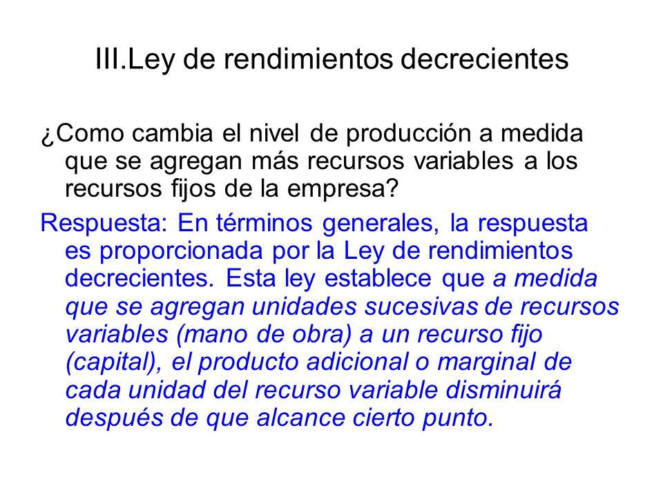 III.Ley de rendimientos decrecientes ¿Como cambia el nivel de producción a medida que se agregan más recursos variables a los recursos fijos de la emp