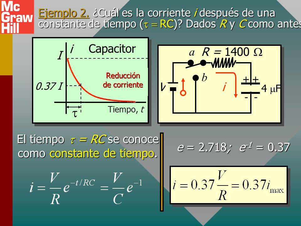 Reducción de corriente R V C ++ -- a b i La corriente es un máximo de I = V/R cuando t = 0. La corriente es cero cuando t = (porque la fcem de C es ig