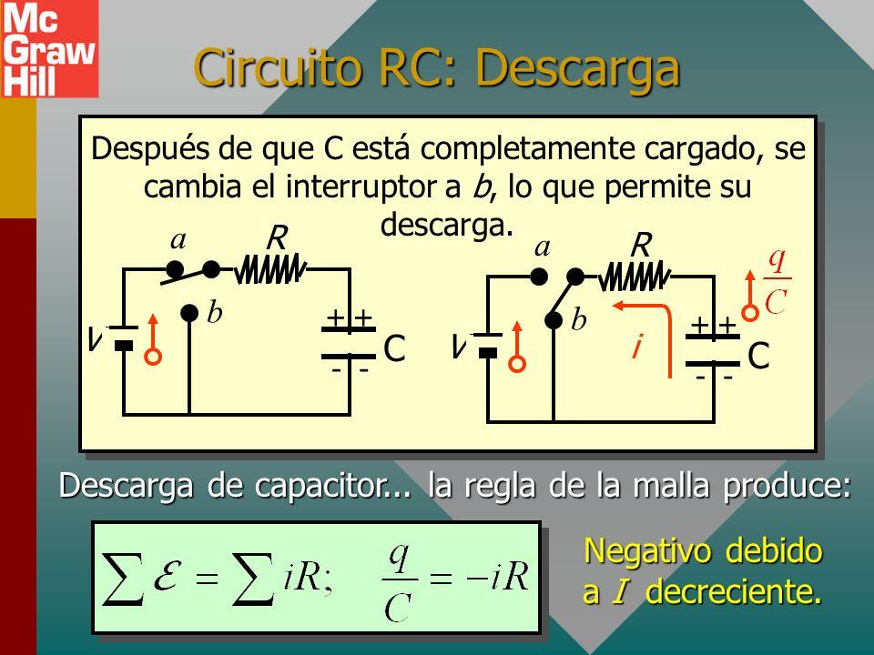 Carga y corriente durante la carga de un capacitor Time, t Q max q Aumento de carga Capacitor 0.63 I En un tiempo de una constante de tiempo, la carga