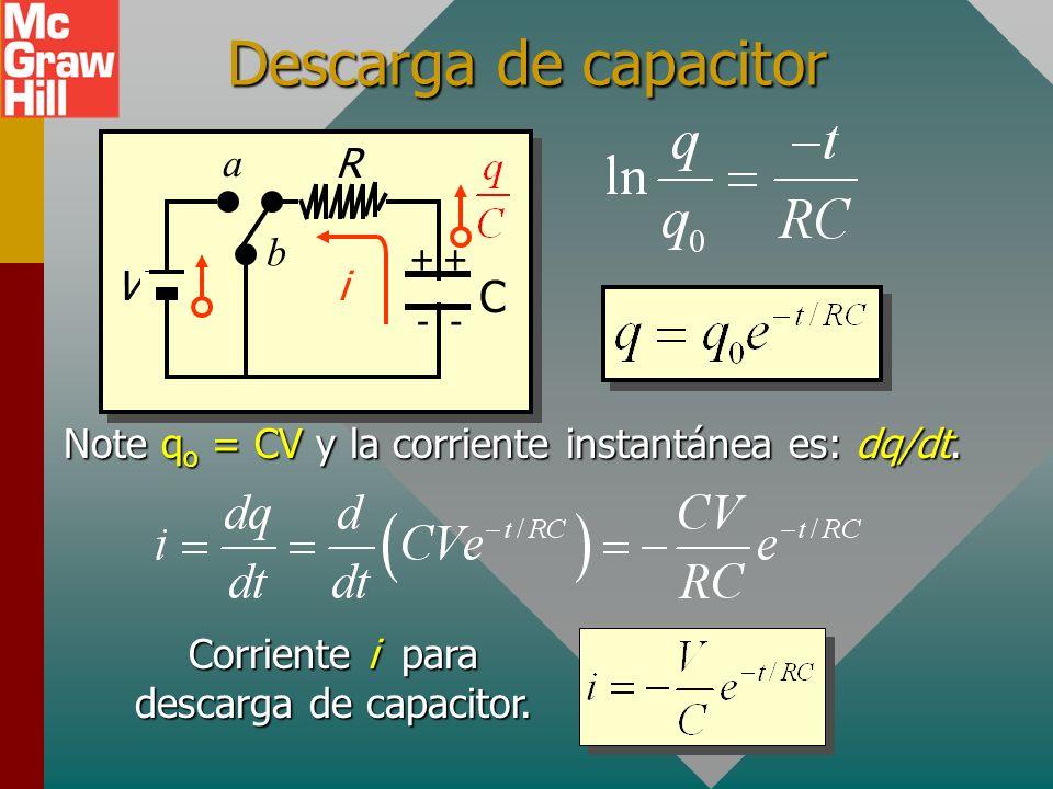 Descarga de q 0 a q: Carga instantánea q sobre capacitor que se descarga: R V C ++ -- a b i