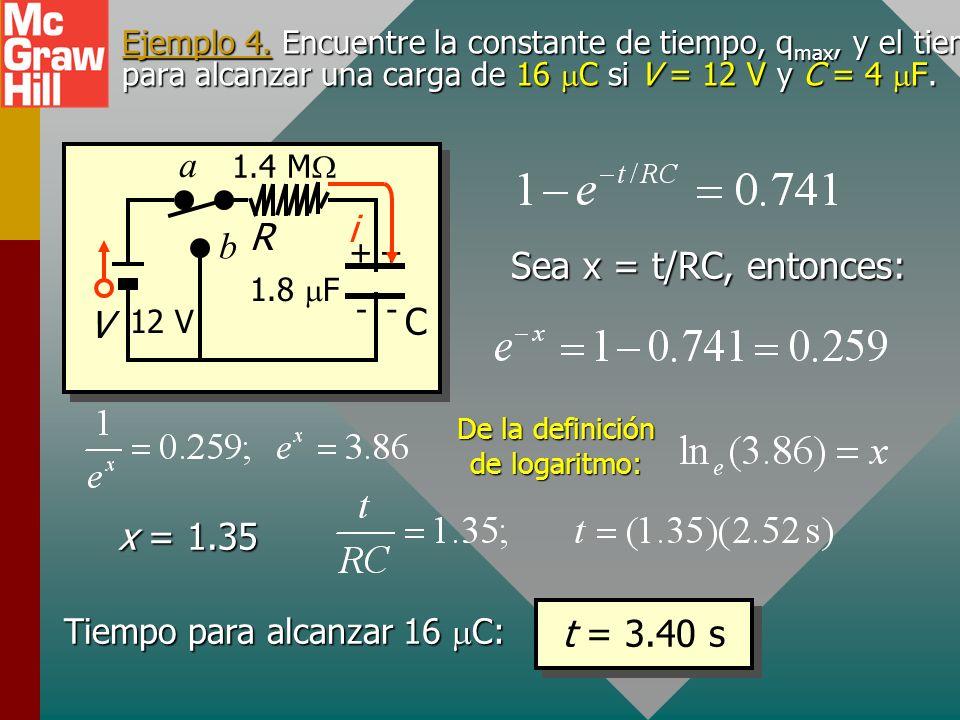 Ejemplo 4. Encuentre la constante de tiempo, q max, y el tiempo para alcanzar una carga de 16 C si V = 12 V y C = 4 F. R V 1.8 F ++ -- a b i 1.4 M C 1