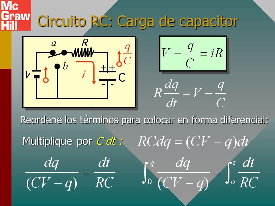 Circuito RC: Carga de capacitor Reordene los términos para colocar en forma diferencial: R V C ++ -- a b i Multiplique por C dt :