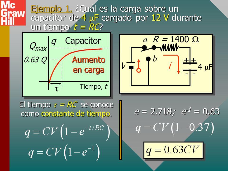 Ejemplo 1.¿Cuál es la carga sobre un capacitor de 4 F cargado por 12 V durante un tiempo t = RC.