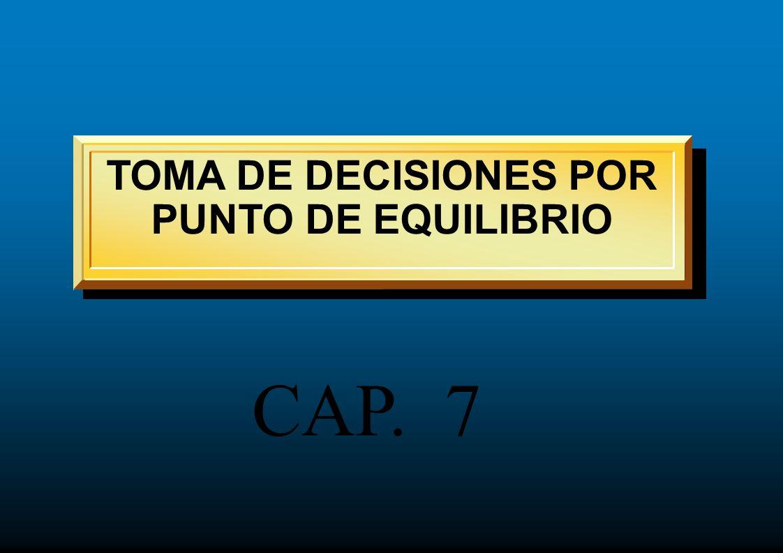 TOMA DE DECISIONES POR PUNTO DE EQUILIBRIO CAP. 7