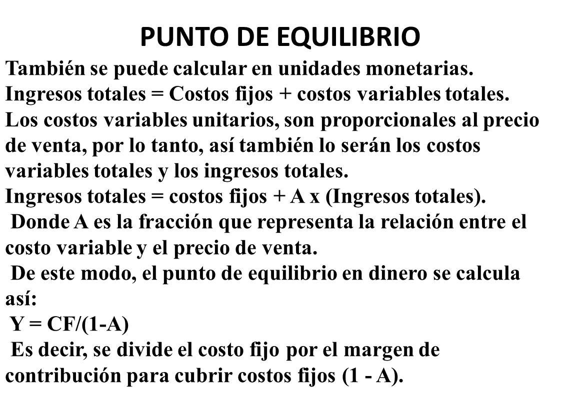PUNTO DE EQUILIBRIO También se puede calcular en unidades monetarias. Ingresos totales = Costos fijos + costos variables totales. Los costos variables