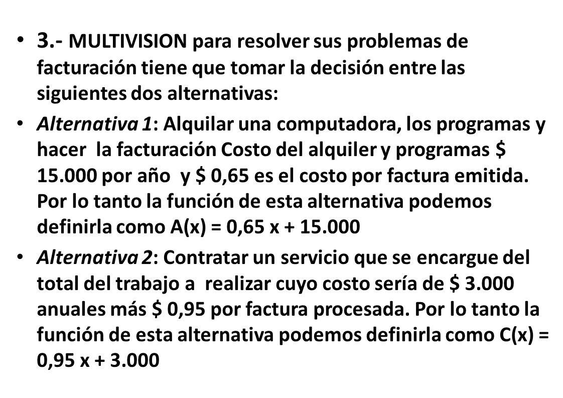 3.- MULTIVISION para resolver sus problemas de facturación tiene que tomar la decisión entre las siguientes dos alternativas: Alternativa 1: Alquilar