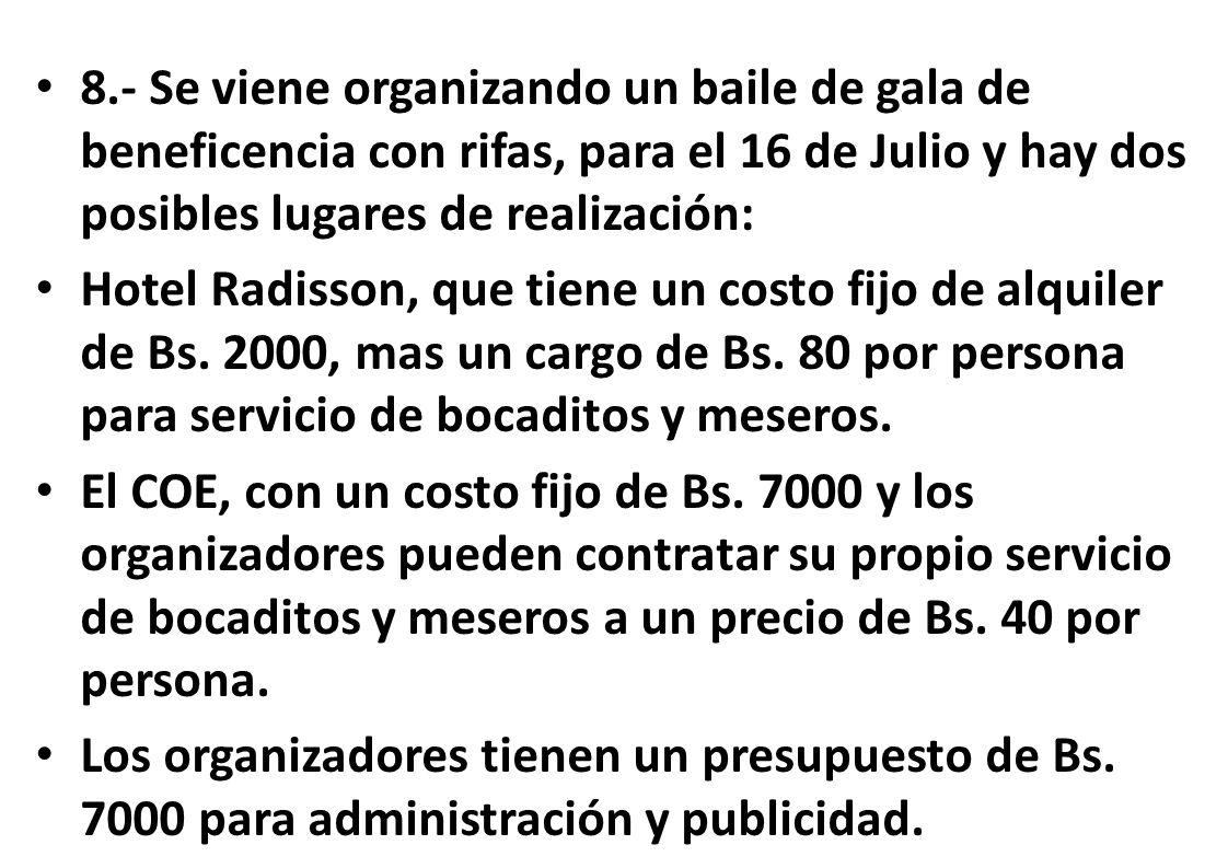 8.- Se viene organizando un baile de gala de beneficencia con rifas, para el 16 de Julio y hay dos posibles lugares de realización: Hotel Radisson, qu