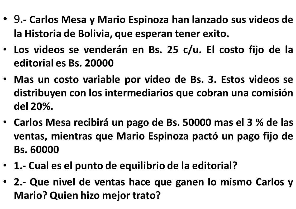 9.- Carlos Mesa y Mario Espinoza han lanzado sus videos de la Historia de Bolivia, que esperan tener exito. Los videos se venderán en Bs. 25 c/u. El c