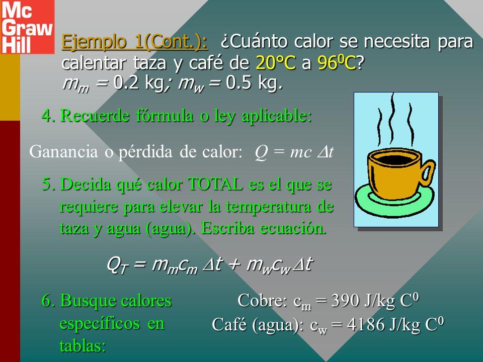 Ejemplo 1: Una taza de cobre 500 g se llena con 200 g de café. ¿Cuánto calor se requirió para calentar taza y café de 20 °C a 96 0 C? 1. Dibuje bosque