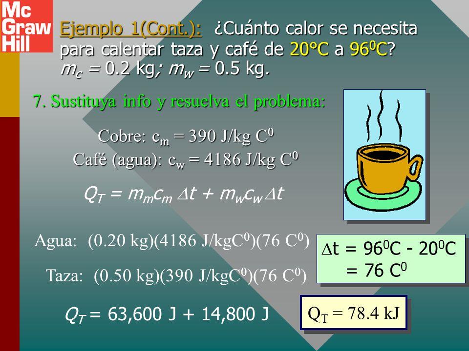 Ejemplo 1(Cont.): ¿Cuánto calor se necesita para calentar taza y café de 20°C a 96 0 C? m m = 0.2 kg; m w = 0.5 kg. 4. Recuerde fórmula o ley aplicabl