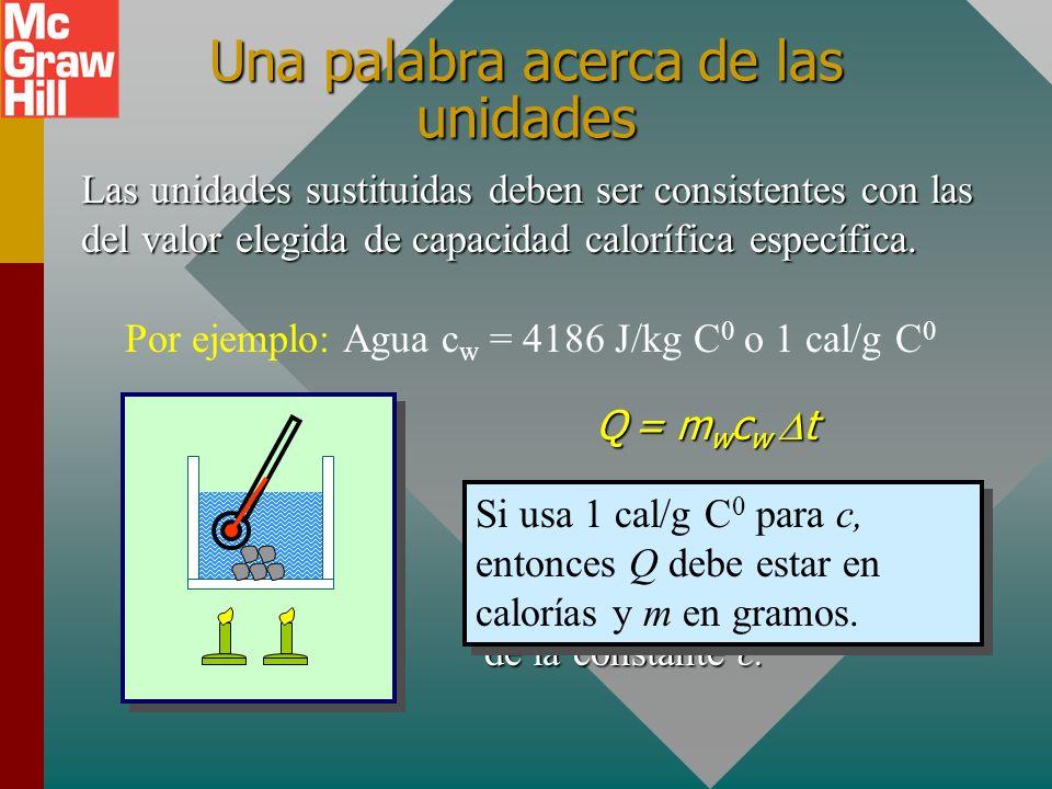 t = 96 0 C - 20 0 C = 76 C 0 Agua: (0.20 kg)(4186 J/kgC 0 )(76 C 0 ) Taza: (0.50 kg)(390 J/kgC 0 )(76 C 0 ) Q T = 63,600 J + 14,800 J Q T = 78.4 kJ 7.