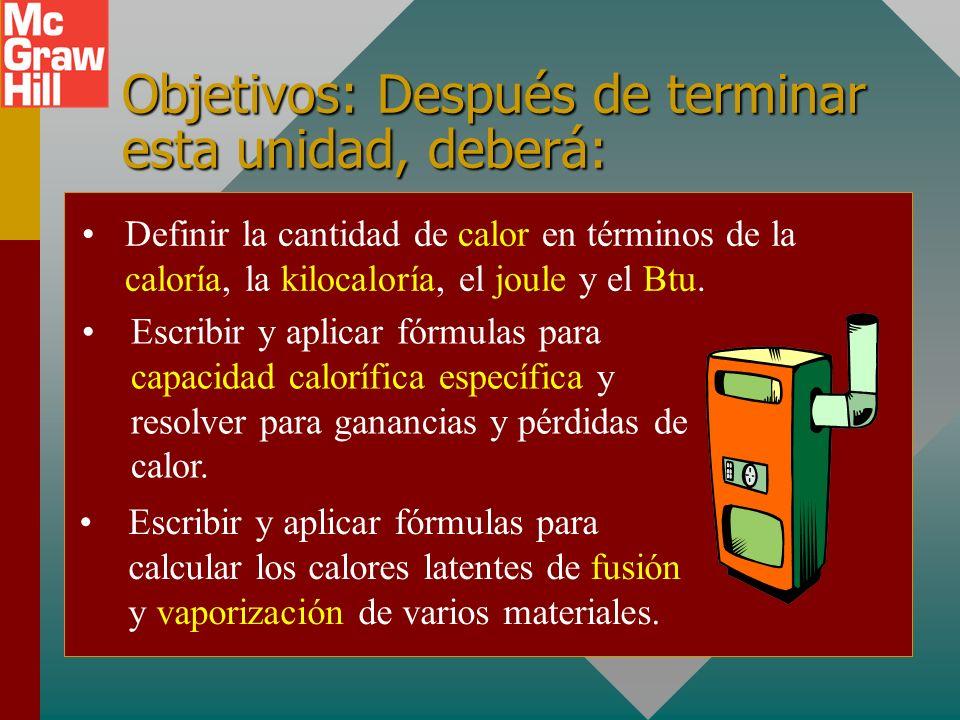 Objetivos: Después de terminar esta unidad, deberá: Definir la cantidad de calor en términos de la caloría, la kilocaloría, el joule y el Btu.