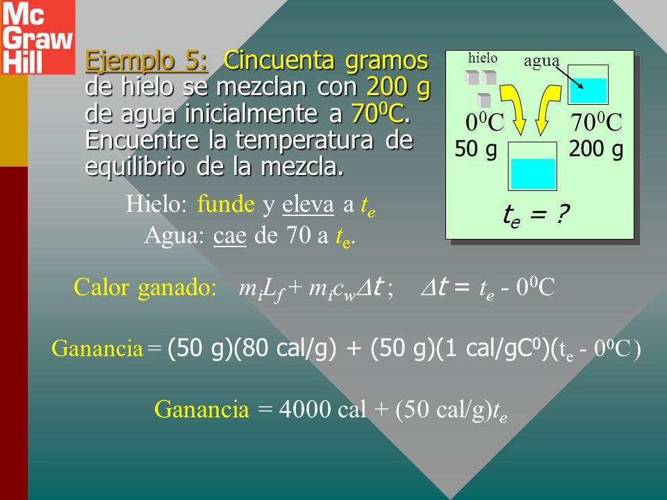 Total ganado: m i (80 cal/g) + m i (1 cal/gC 0 )(60 C 0 ) Total perdido: (4 g)(540 cal/g) + (4 g)(1 cal/gC 0 )(40 C 0 ) m i = ? 4 g t e = 60 0 C 80m i