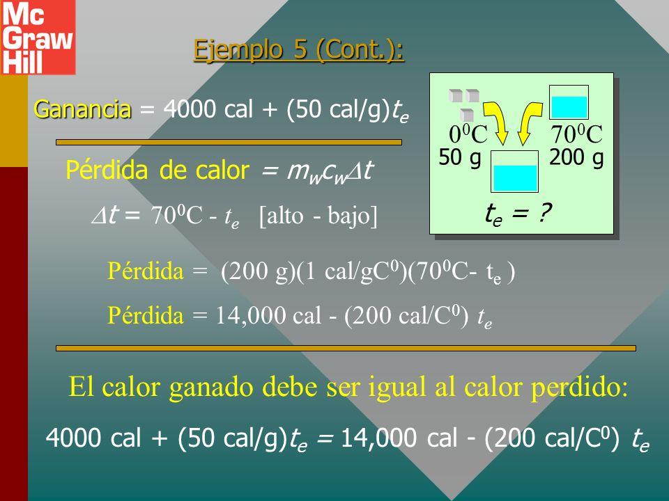 Ejemplo 5: Cincuenta gramos de hielo se mezclan con 200 g de agua inicialmente a 70 0 C. Encuentre la temperatura de equilibrio de la mezcla. Hielo: f