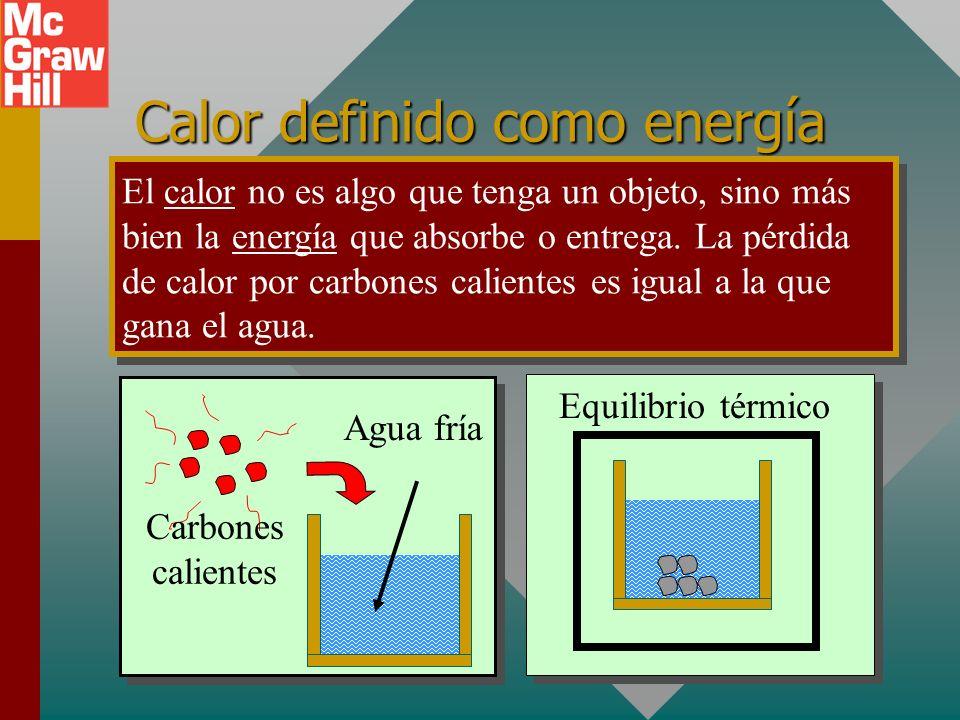 Calor definido como energía El calor no es algo que tenga un objeto, sino más bien la energía que absorbe o entrega.