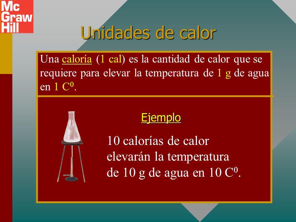 Unidades de calor Una caloría (1 cal) es la cantidad de calor que se requiere para elevar la temperatura de 1 g de agua en 1 C 0.