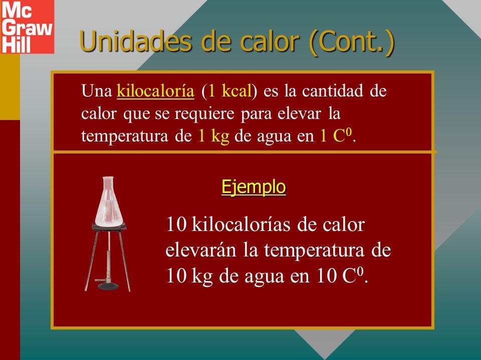 Unidades de calor (Cont.) 10 kilocalorías de calor elevarán la temperatura de 10 kg de agua en 10 C 0.