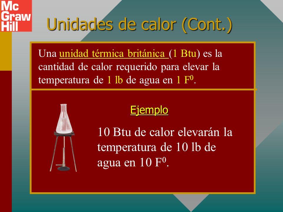 Unidades de calor (Cont.) 10 kilocalorías de calor elevarán la temperatura de 10 kg de agua en 10 C 0. Ejemplo Una kilocaloría (1 kcal) es la cantidad