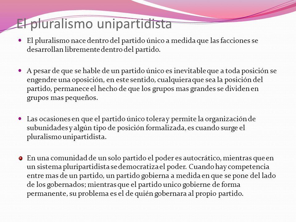 El pluralismo unipartidista El pluralismo nace dentro del partido único a medida que las facciones se desarrollan libremente dentro del partido. A pes