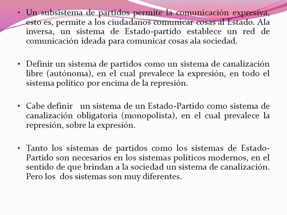 Un subsistema de partidos permite la comunicación expresiva, esto es, permite a los ciudadanos comunicar cosas al Estado. Ala inversa, un sistema de E