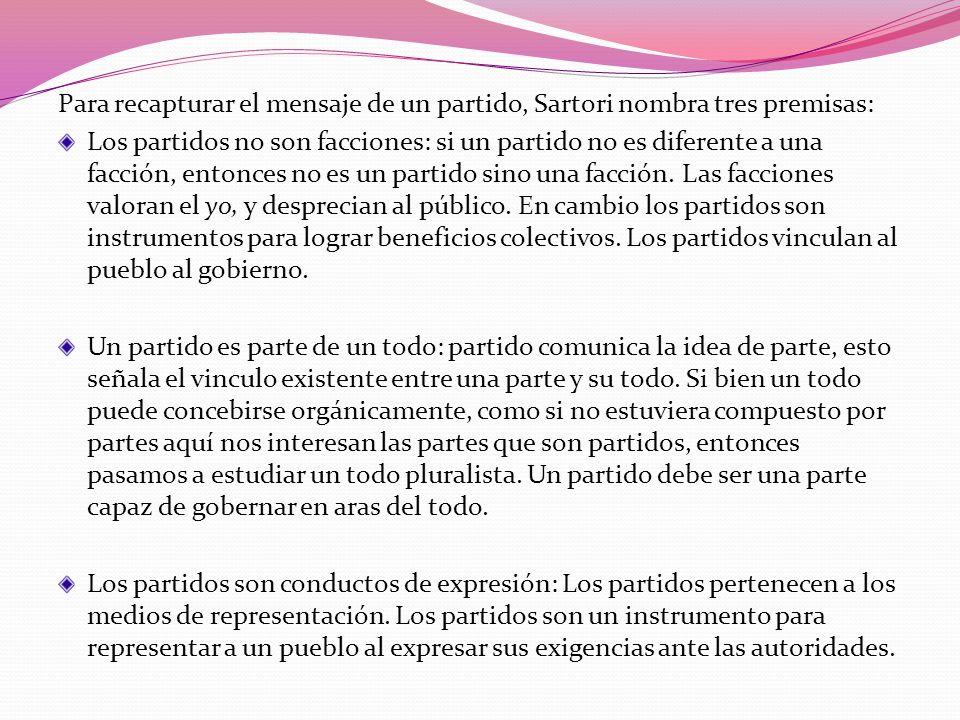 Para recapturar el mensaje de un partido, Sartori nombra tres premisas: Los partidos no son facciones: si un partido no es diferente a una facción, en