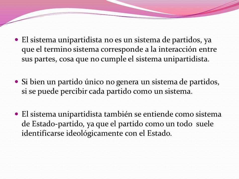 El sistema unipartidista no es un sistema de partidos, ya que el termino sistema corresponde a la interacción entre sus partes, cosa que no cumple el