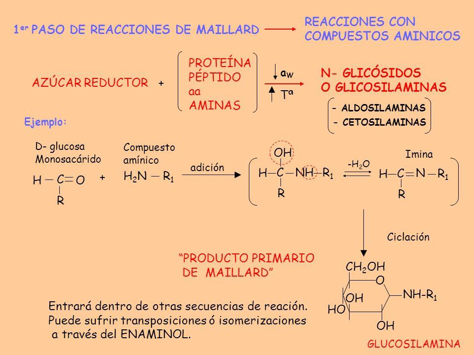 OTROS PRODUCTOS PRIMARIOS: TRANSPOSICIÓN DE AMADORI TRANSPOSICIÓN DE HEYNS Leche en polvo Frutas desecadas (melocotón, albaricoque) Extractos hígado Verduras desecadas 2 - AMINO - 2- DESOXIALDOSA C H HC......