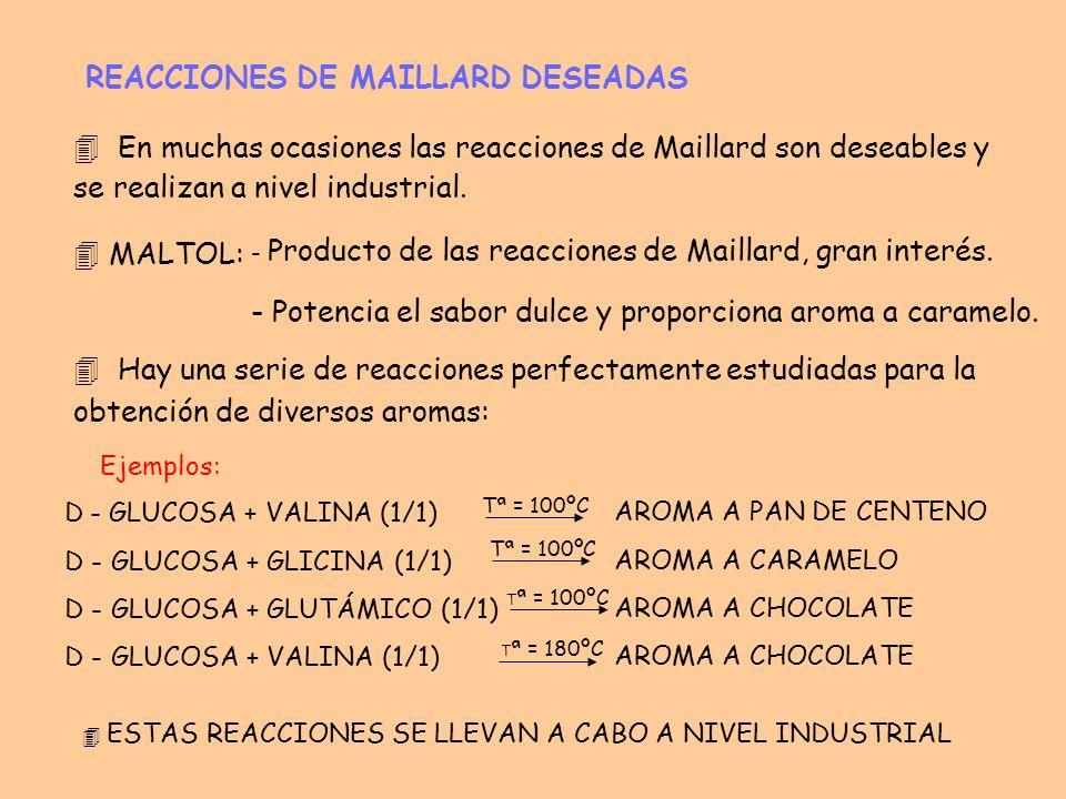 REACCIONES DE MAILLARD DESEADAS 4 En muchas ocasiones las reacciones de Maillard son deseables y se realizan a nivel industrial. - Producto de las rea