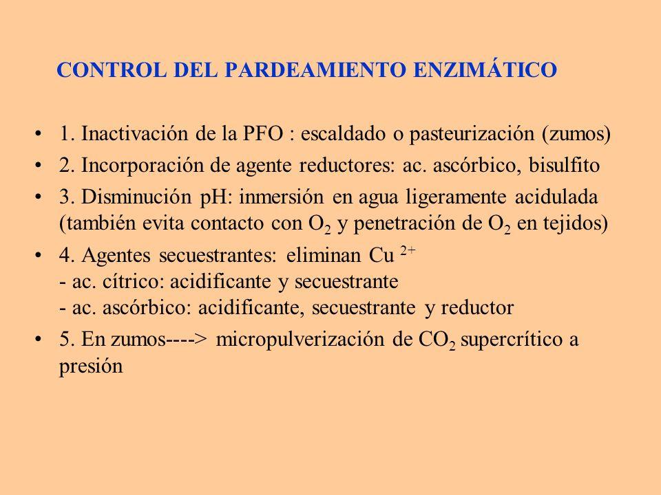 CONTROL DEL PARDEAMIENTO ENZIMÁTICO 1. Inactivación de la PFO : escaldado o pasteurización (zumos) 2. Incorporación de agente reductores: ac. ascórbic